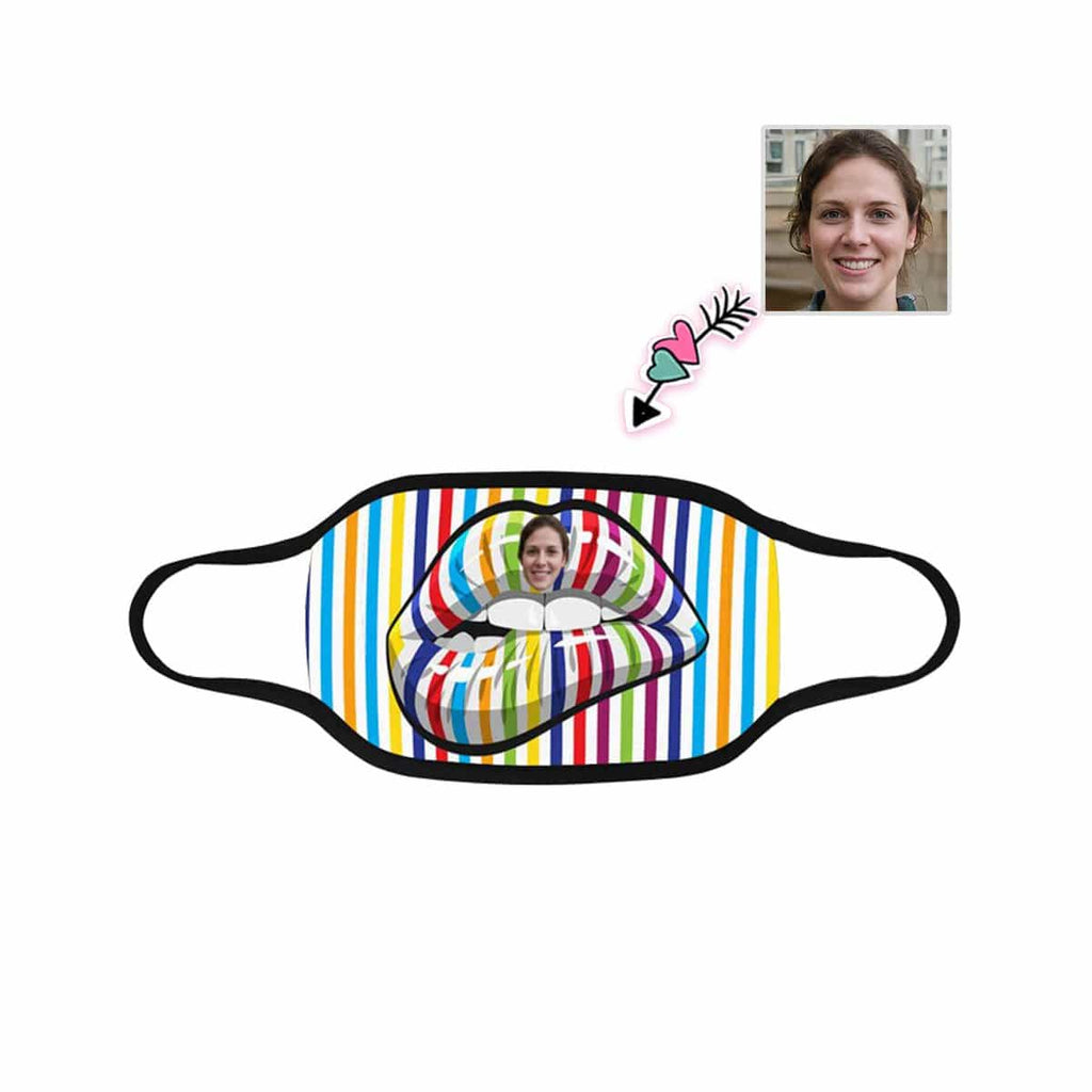 Custom Face Rainbow Mouth Mouth Mask Washable Reusable