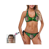 Custom Face Green Starry Sky Women's Strappy Halter Bikini Swimsuits