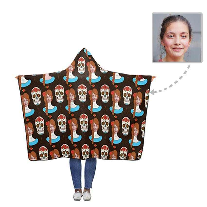 Custom Girl Face Skull Hooded Blanket