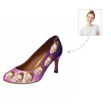 Custom Face Purple Starry Sky Women's Pumps