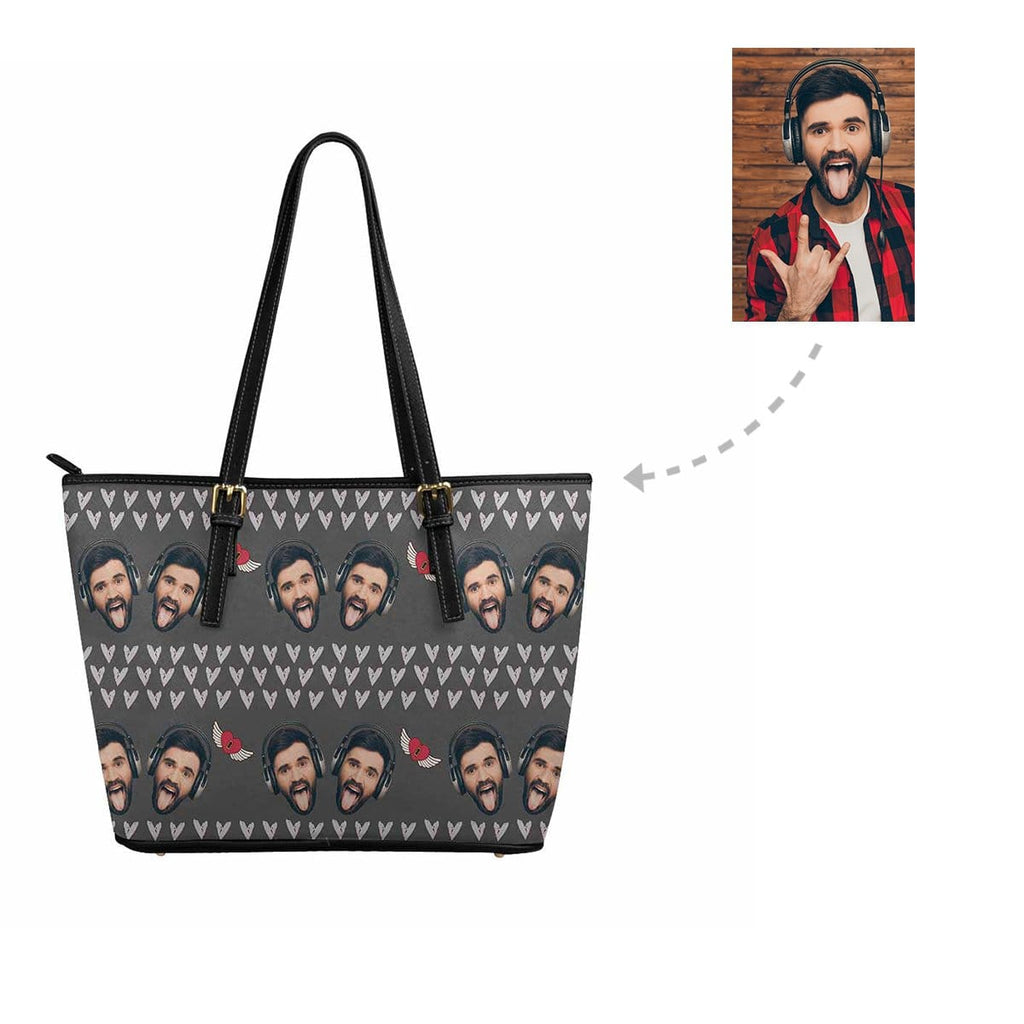 Custom Man Face Love Heart Women's Tote Bag
