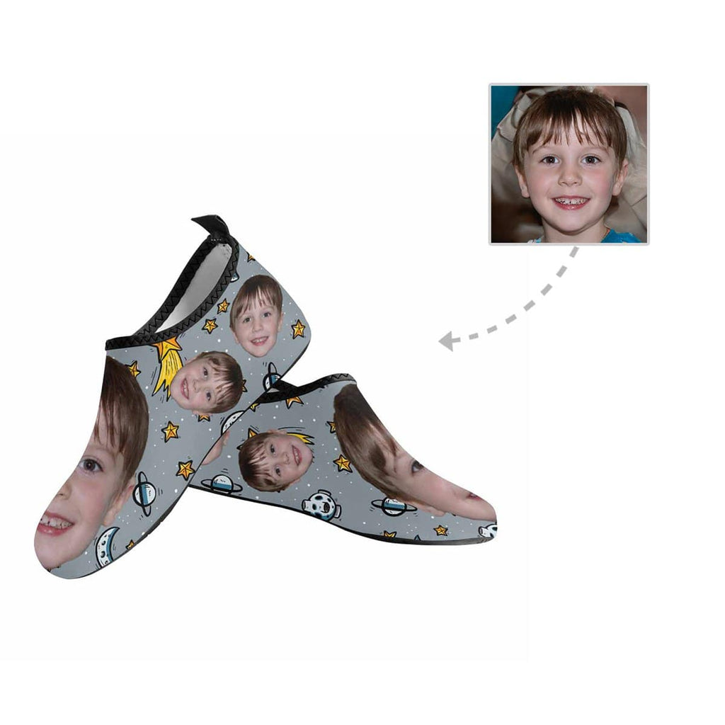 Custom Kid Face Planet Kid's Barefoot Aqua Shoes