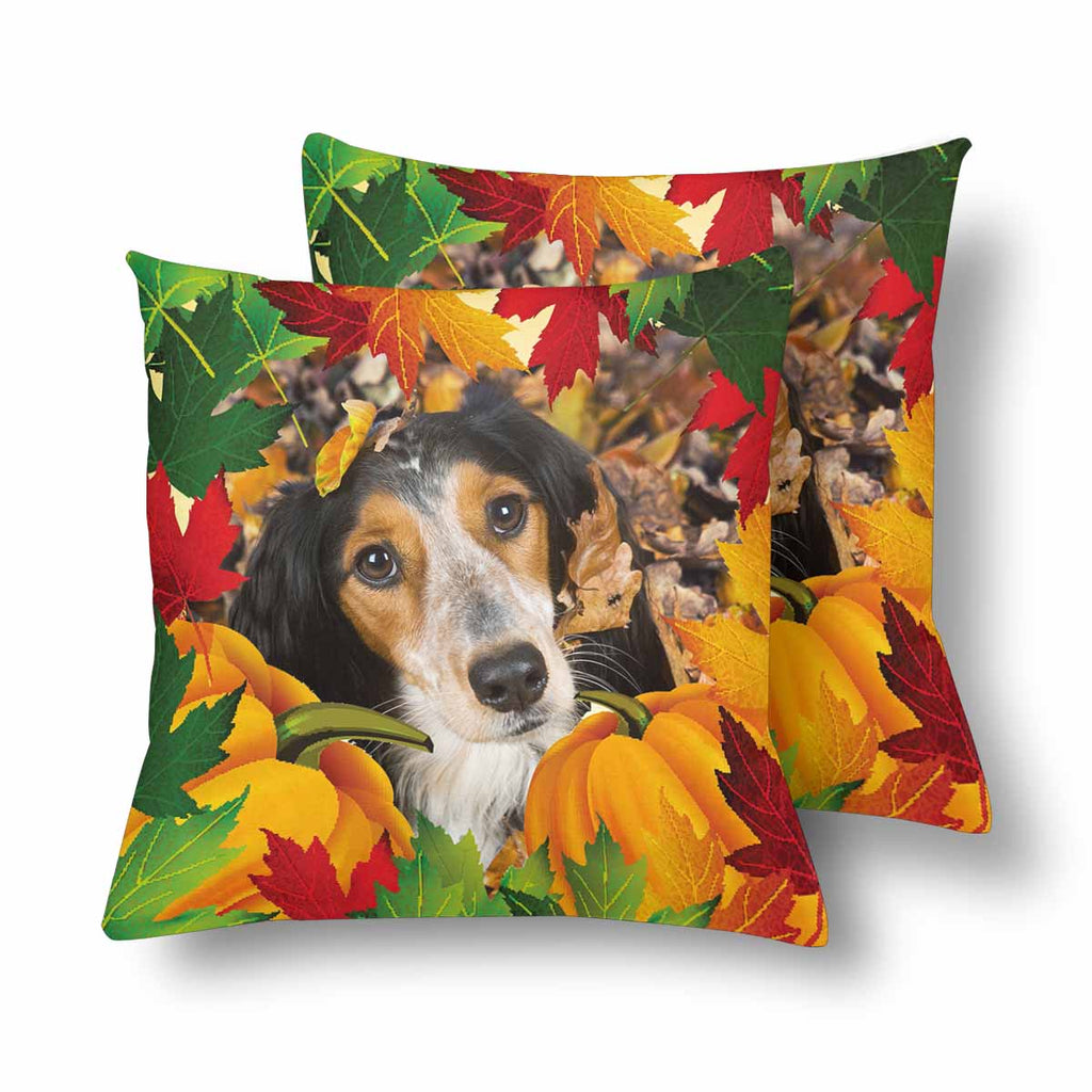 Custom Dog Autumn Leaf Throw Pillow Cover