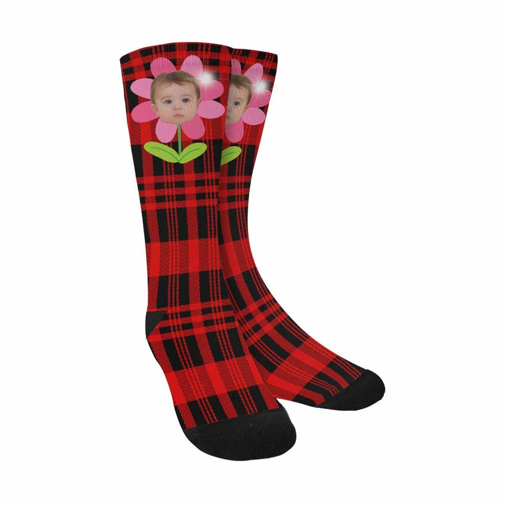 Custom Baby Face Red Plaid Sublimated Crew Socks