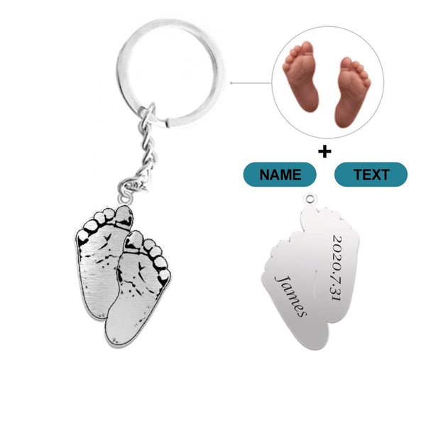 Custom Feet Photo&Text Silver Keychain