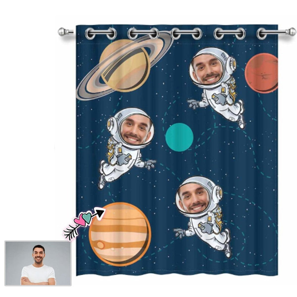 "Custom Face Space Astronaut Window Curtain 52"" x 63"""