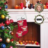 Custom Face&Name Cute Red Christmas Stocking