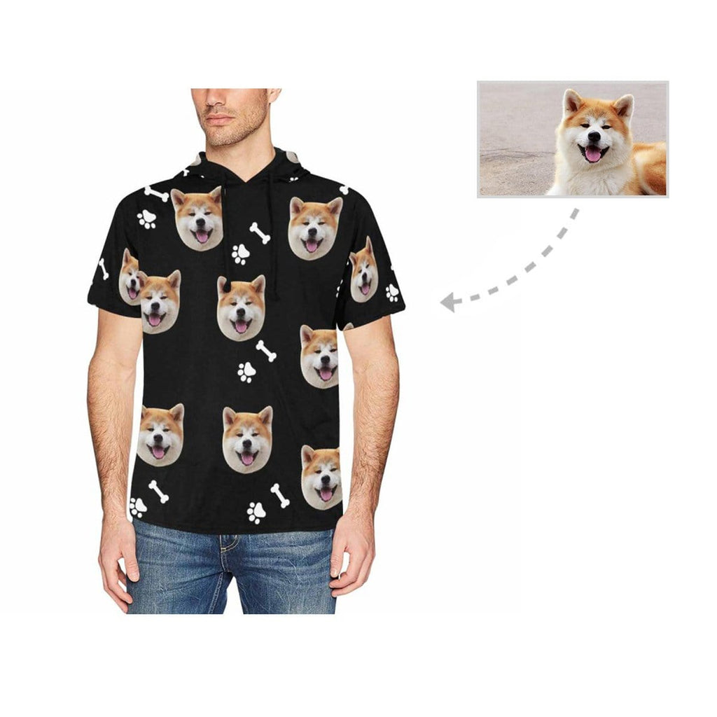 Custom Face Dog Paw Men's Short Sleeve Hoodie