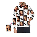 Custom Girlfriend Face White Lattice Men's Hooded Windbreaker