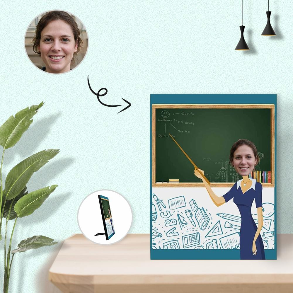 Custom Face Teacher Photo Panel for Tabletop Display