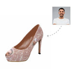 Custom Boyfriend Face Shiny Pink Bubble Women's High Heels