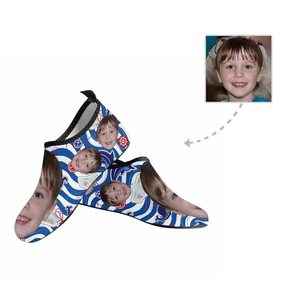 Custom Face Ship Kid's Barefoot Aqua Shoes