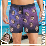 Custom Face Starry Sky Men's Mid-Length Swim Shorts
