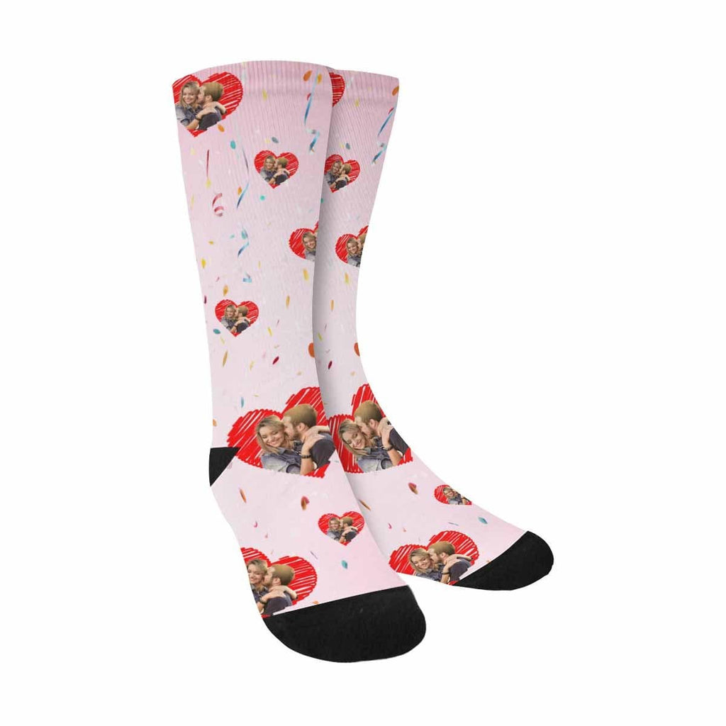 Custom Couple Face Love Heart Sublimated Crew Socks