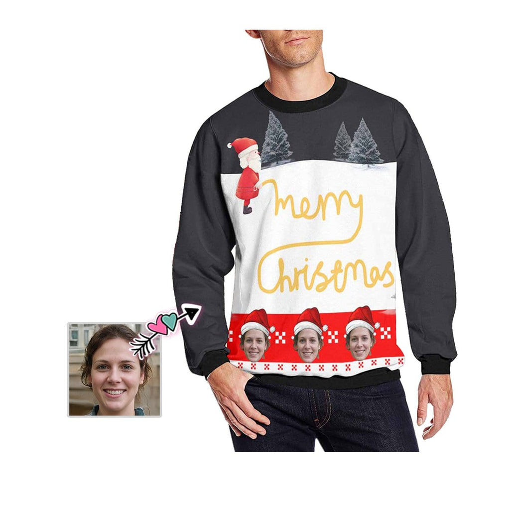 Custom Face Christmas Carnival Men's Crewneck Sweatshirt