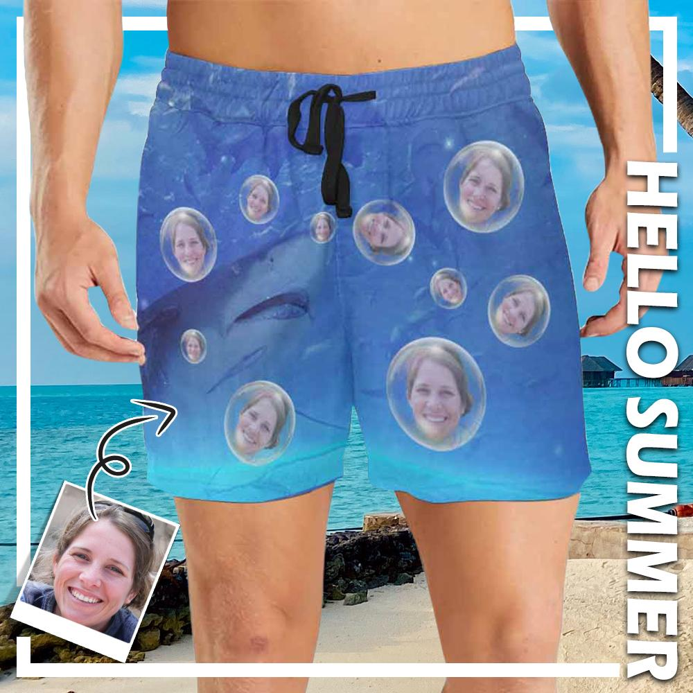Custom Face Shark Bubbles Men's Mid-Length Swim Shorts