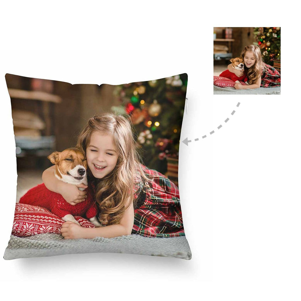 Custom Christmas Pet Lover Photo Throw Pillow Cover