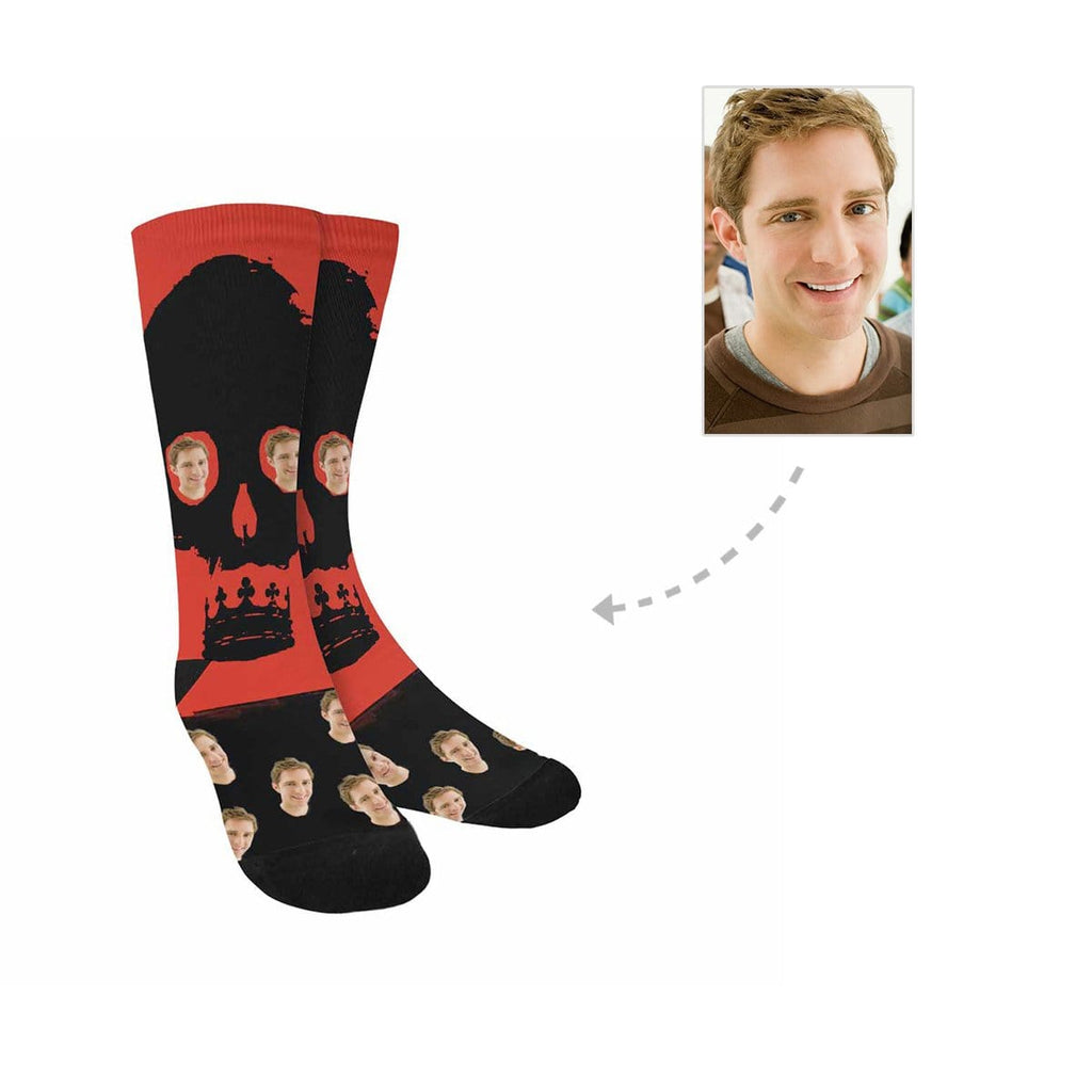Custom Men's Face Skull Sublimated Crew Socks