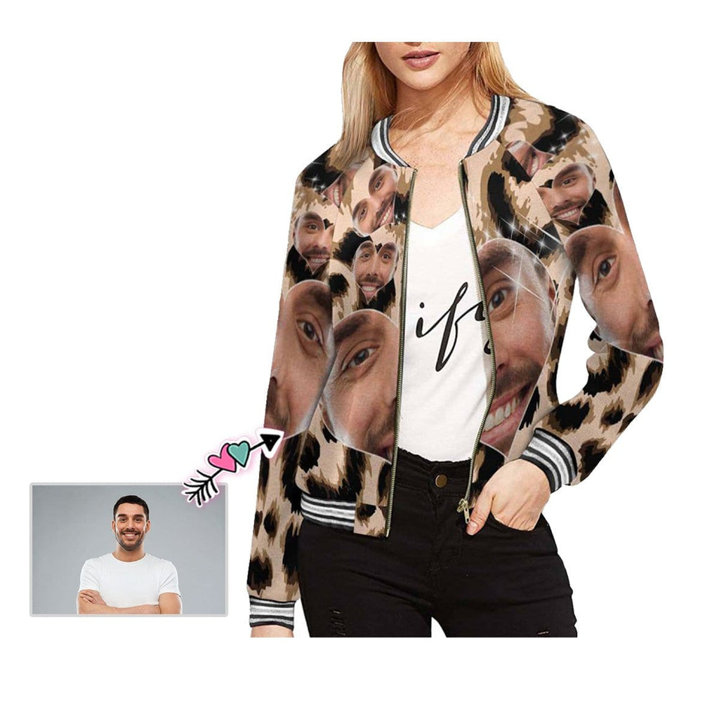 Custom Boyfriend Face Leopard Print Women's Casual Jacket