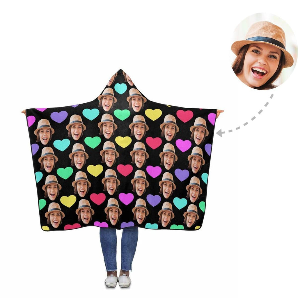 Custom Face Colorful Love Heart Hooded Blanket