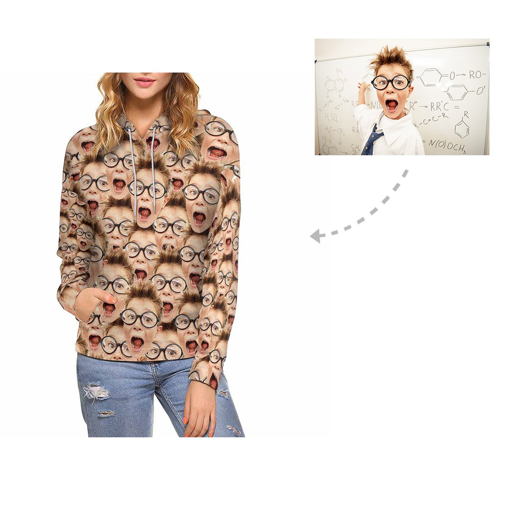 Custom Boy Multi Face Women's All Over Print Hoodie