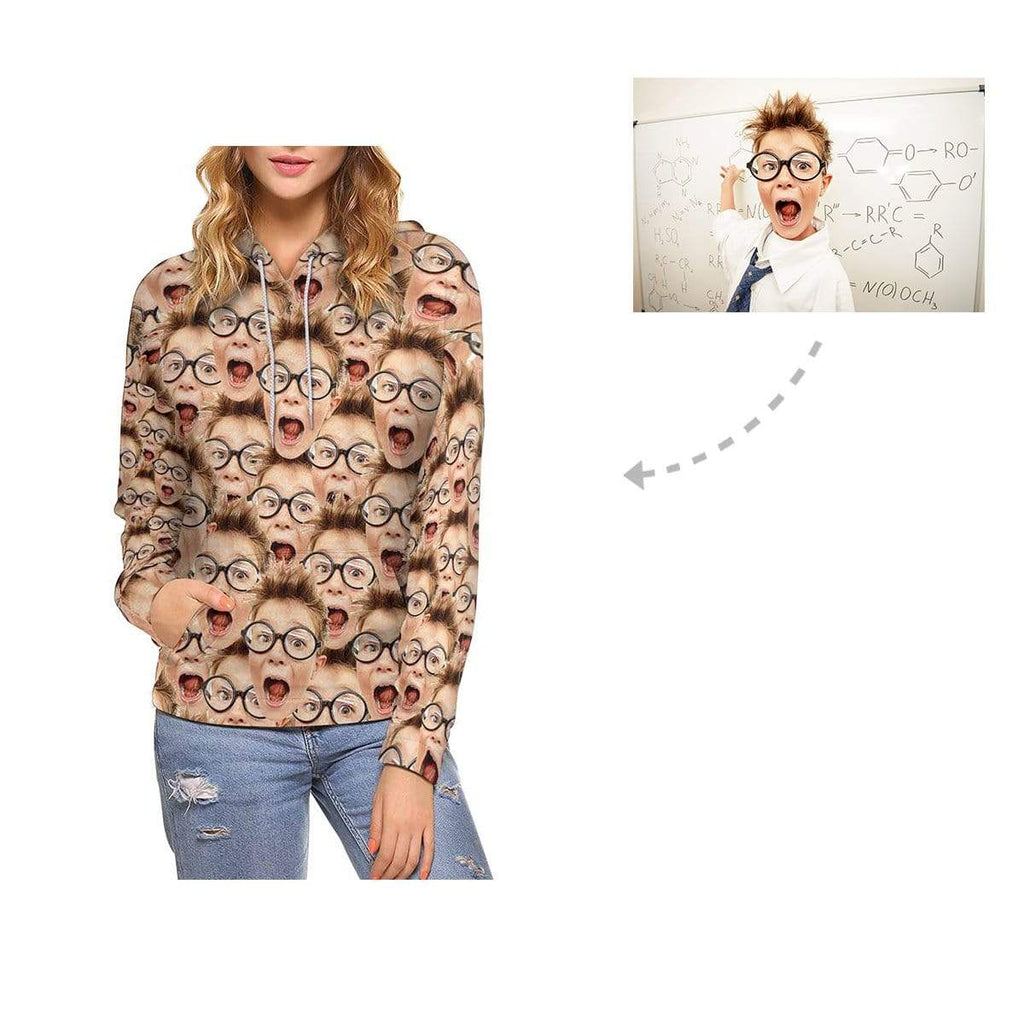 Custom Boy Face Women's All Over Print Hoodie