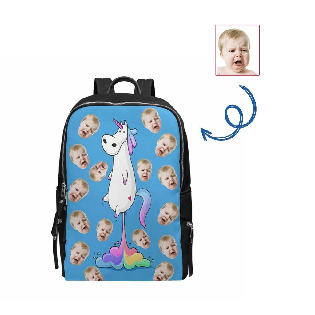 Custom Face Unicorn School Bag