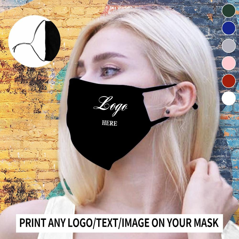 Custom Logo Fabric Mouth Mask With Drawstring