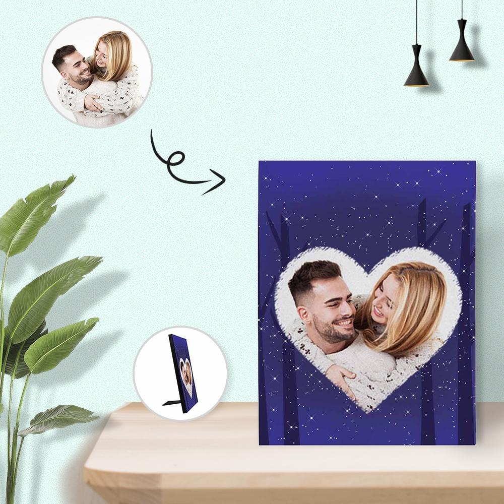 New Home Gift, Housewarming Gift for Couple, Custom Photo Starry Sky Photo Panel for Tabletop Display, Personalized New Photo Panel