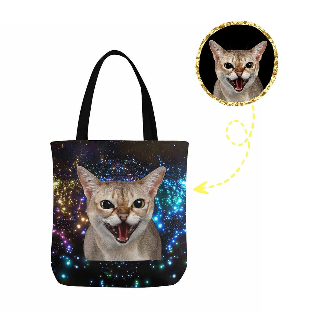 Custom Cat Face Galaxy Canvas Tote Bag