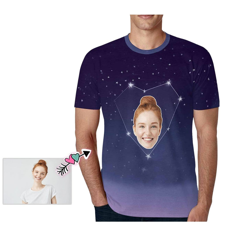 Custom Wife Face Starry Sky Love Men's All Over Print T-shirt