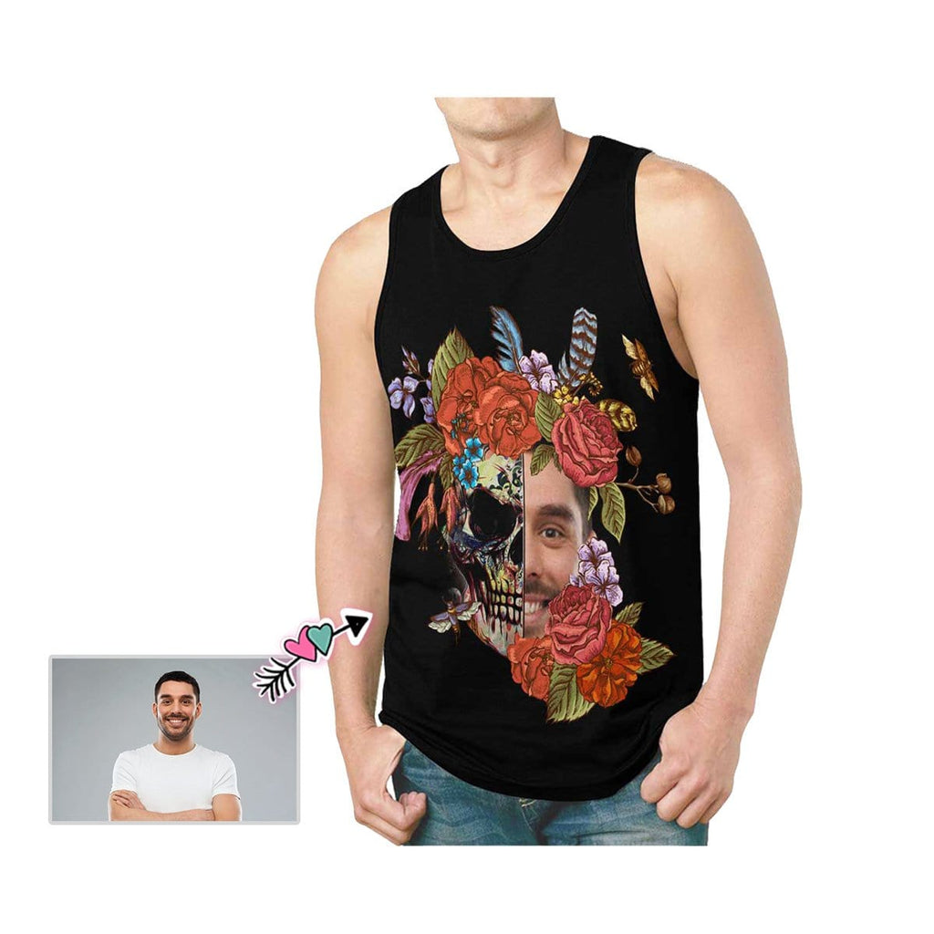 Custom Father Face Red Flower Skull Men's All Over Print Tank Top