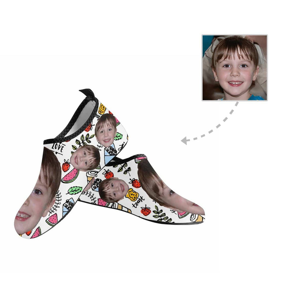 Custom Face Fruits Love Kid's Barefoot Aqua Shoes
