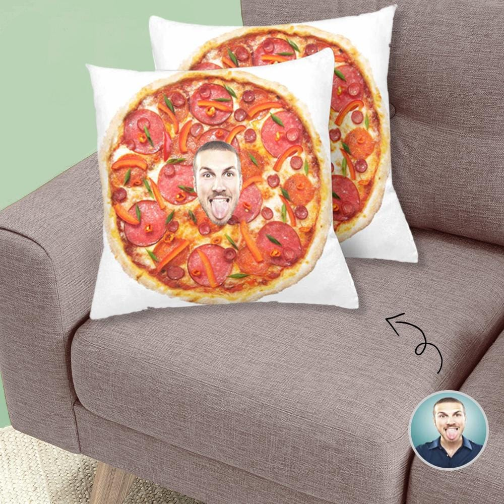 Custom Face Photo Sausage Pizza Trow Pillow Cover 18'' x 18''