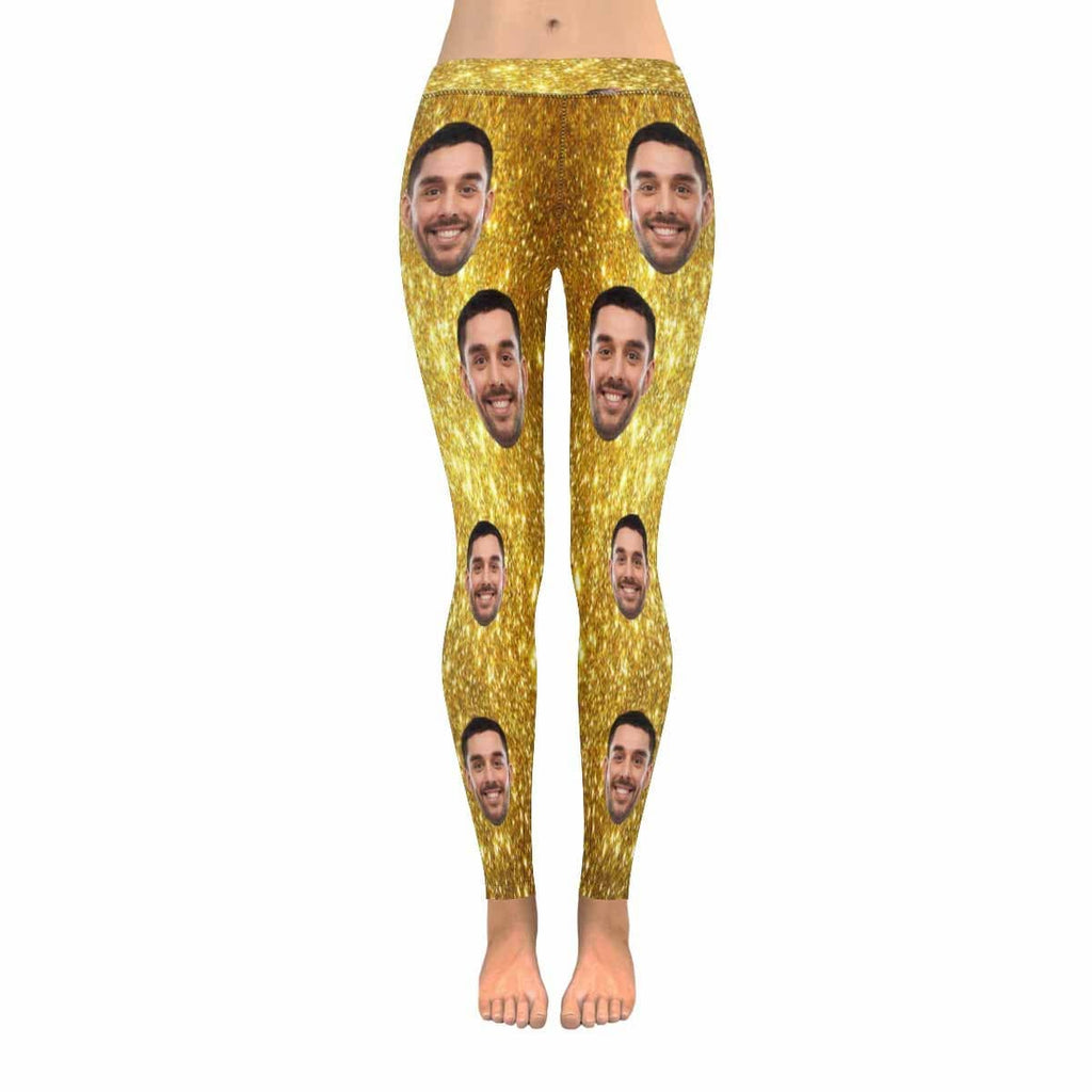 Custom Face Photo Shiny Golden  Low Rise Leggings