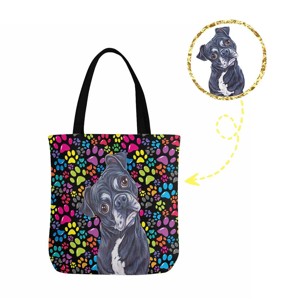 Custom Dog Colorful Paw Canvas Tote Bag