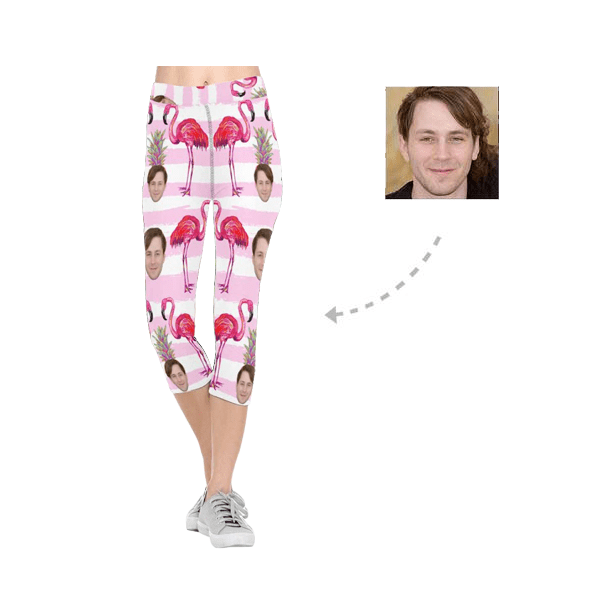 Custom Boyfriend Face Flamingo All-Over Low Rise Capri