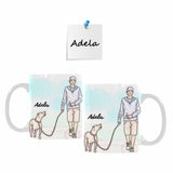 Custom Dog Name Walking the Dog Classical White Mug