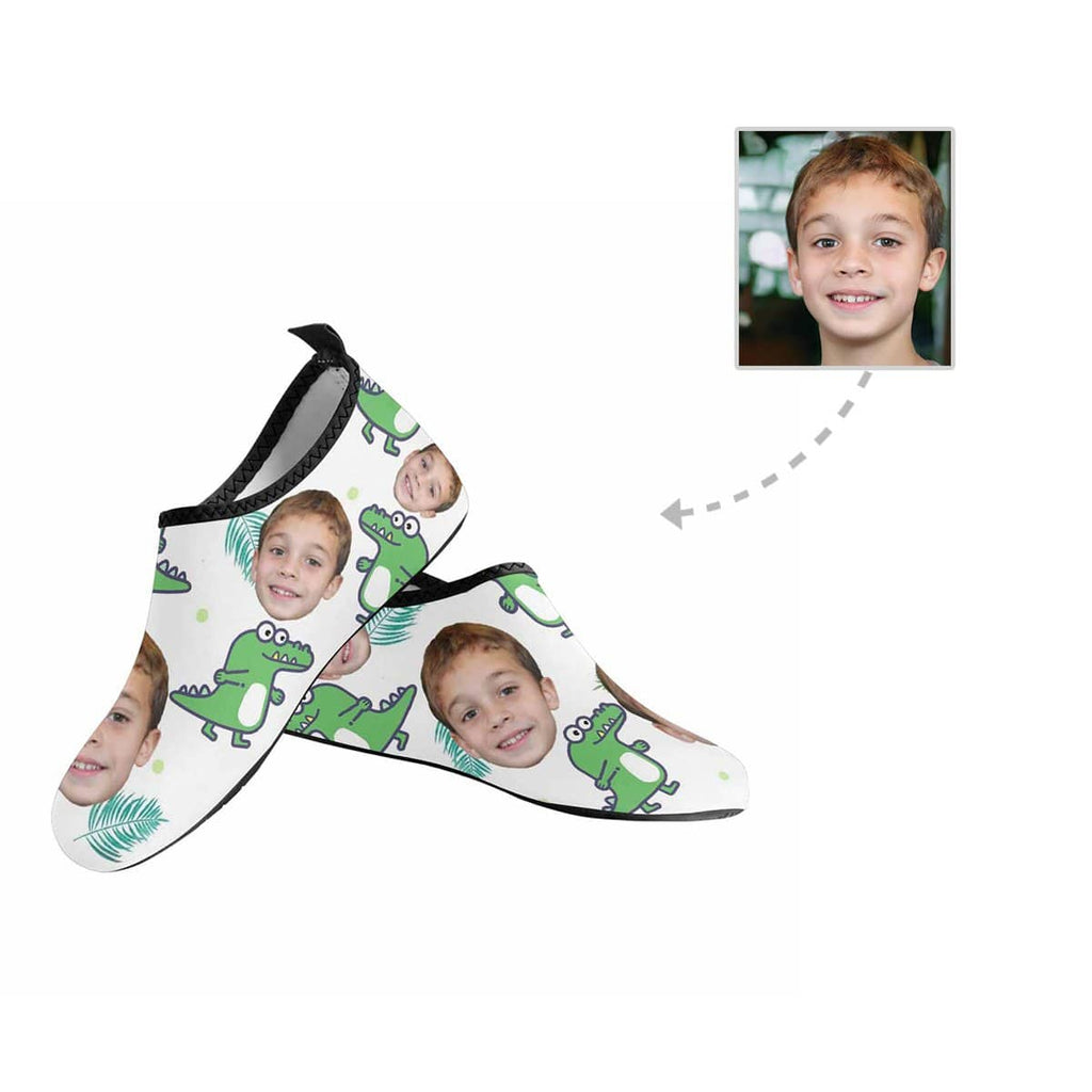 Custom Face Crocodile Kid's Barefoot Aqua Shoes