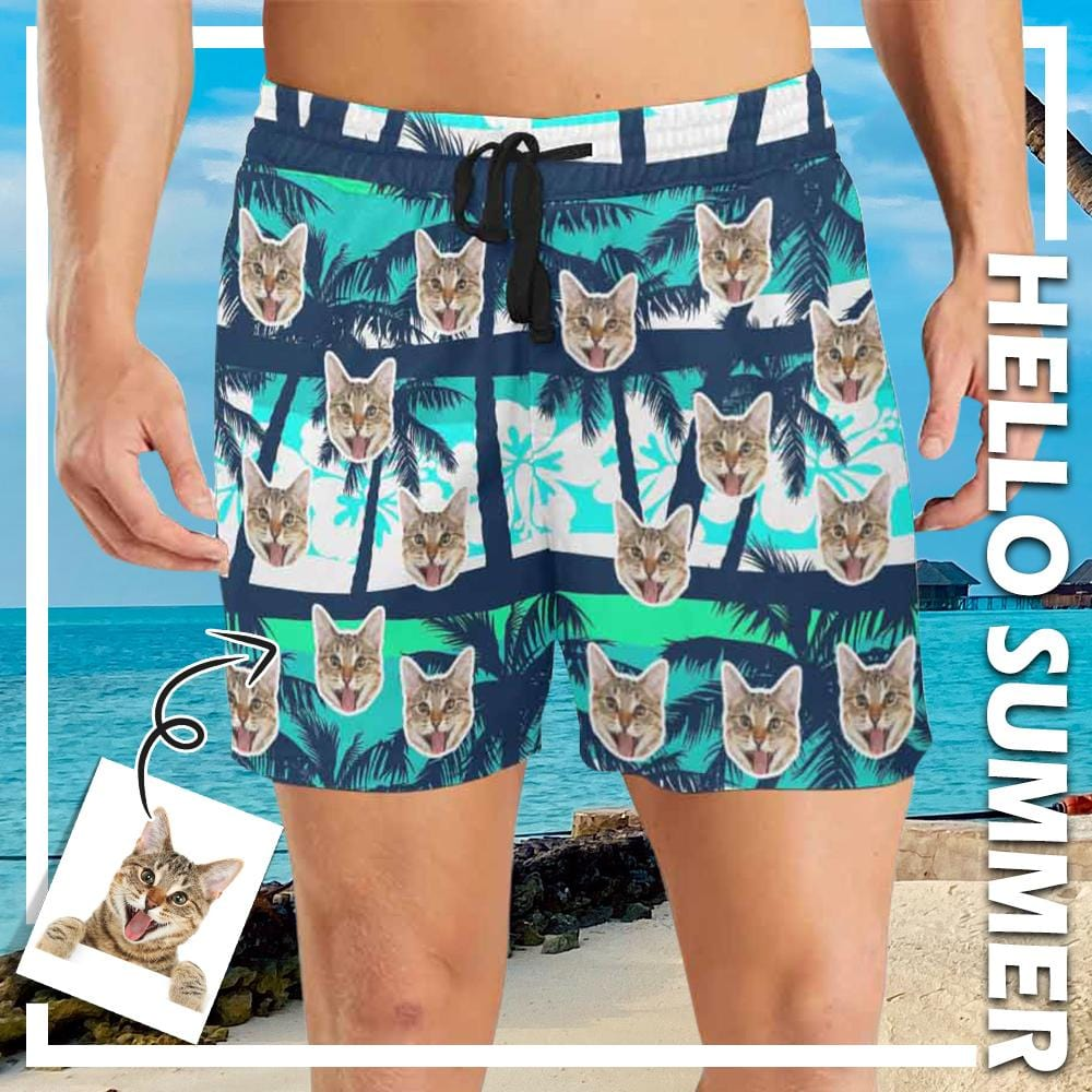 Custom Face Coconut Trees Men's Mid-Length Swim Shorts