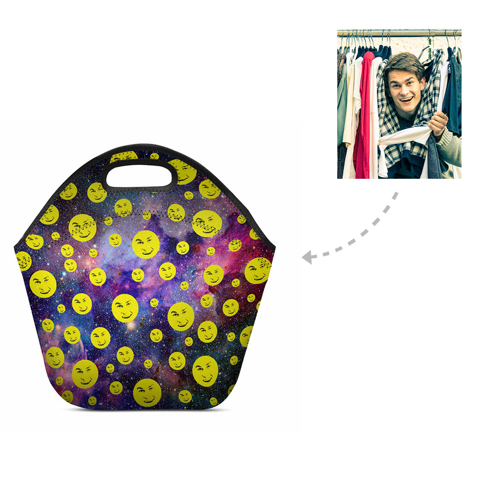 Custom Galaxy Man Emoji Neoprene Lunch Bag