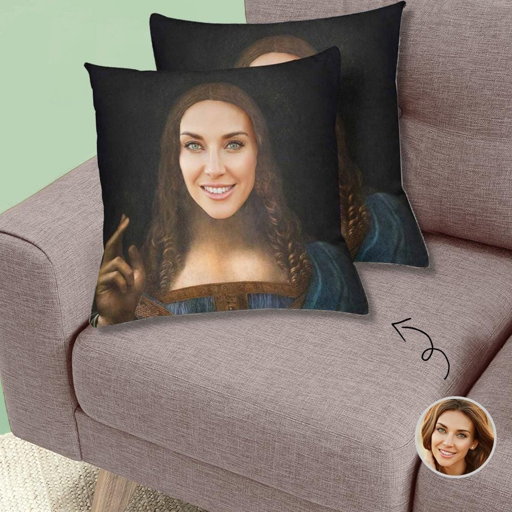 Custom Vintage Lady Face Throw Pillow Cover