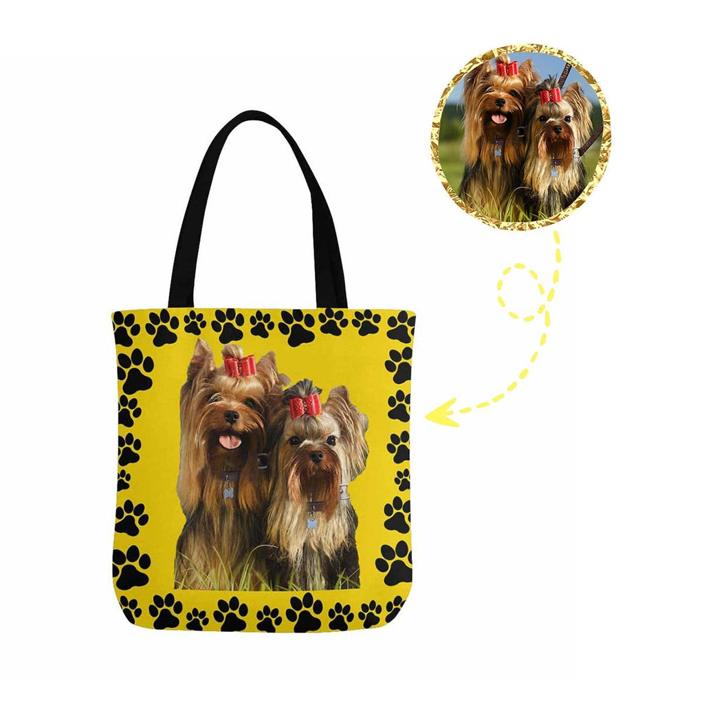 Custom Dog Paw Yellow Canvas Tote Bag