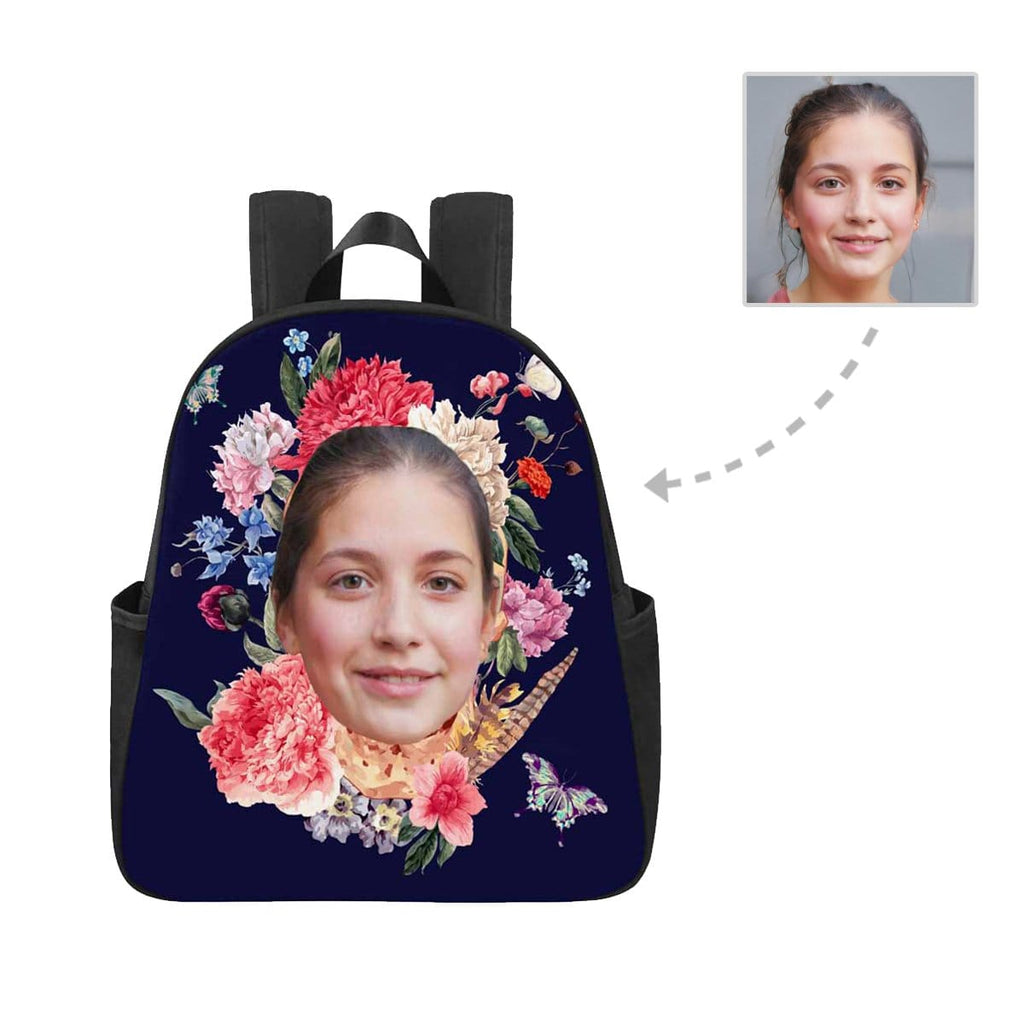 Custom Face Flower Multi-pocket Nylon Backpack