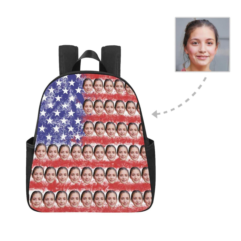 Custom Face National Flag Multi-pocket Nylon Backpack