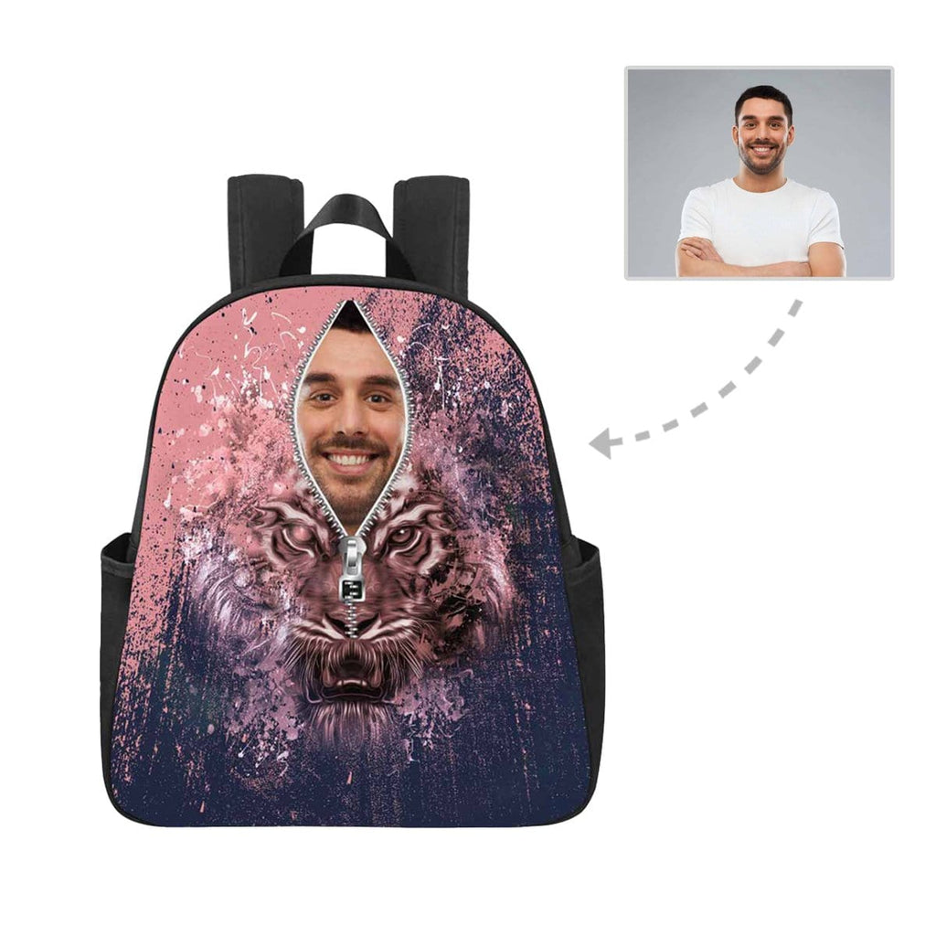 Custom Face Zipper Tiger Multi-pocket Nylon Backpack