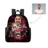 Custom Face Colorful Zipper Tiger Multi-pocket Nylon Backpack