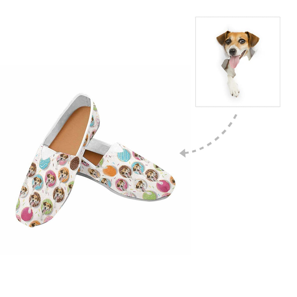 Custom Donuts Dog Face Women's Casual Shoes
