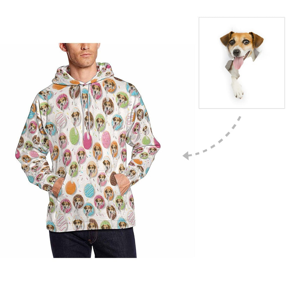 Custom Donuts Dog Face Men's All Over Print Hoodie