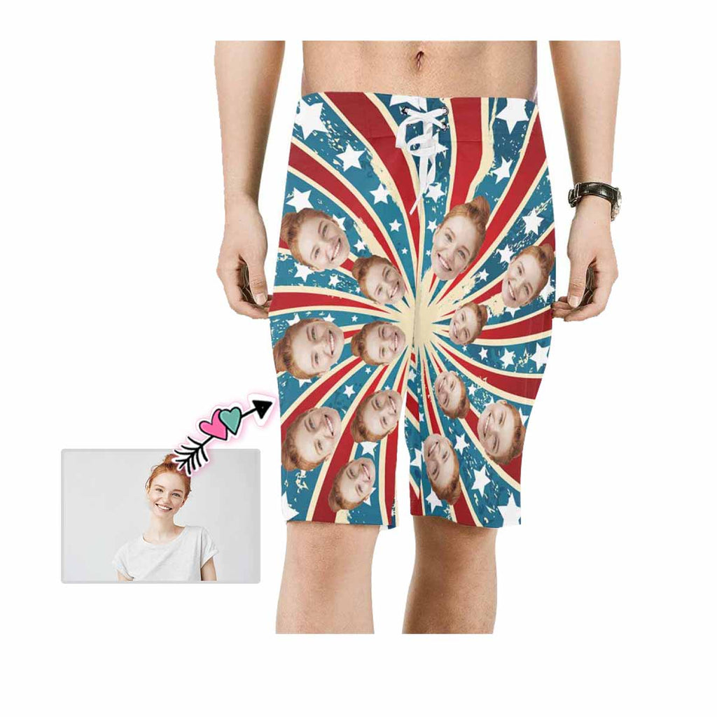 Custom Girlfriend Face Radiation Stripes Men's Beach Shorts
